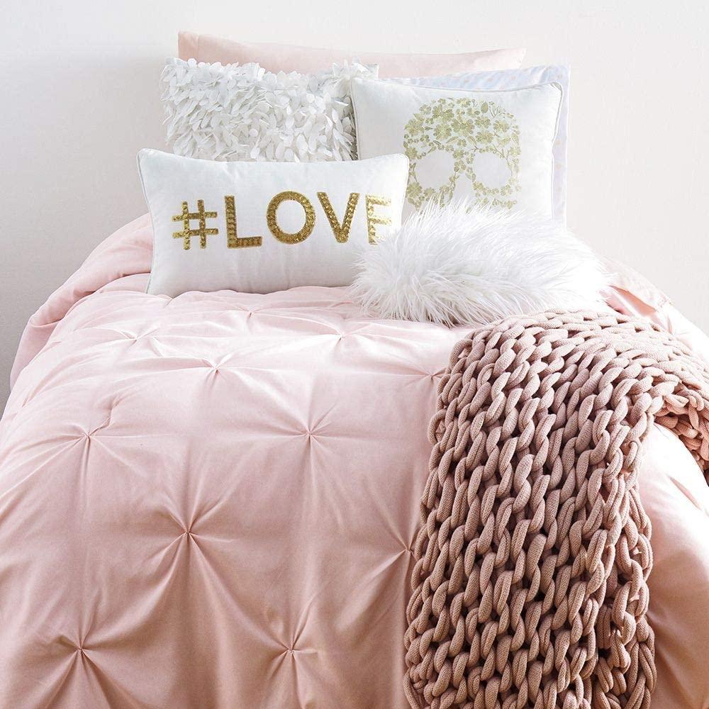 Campus Linens Blush Kiss Pleat Twin XL Comforter for College Dorm Bedding