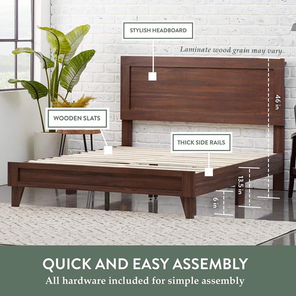 Everlane Home Wood Bed Platform With Headboard