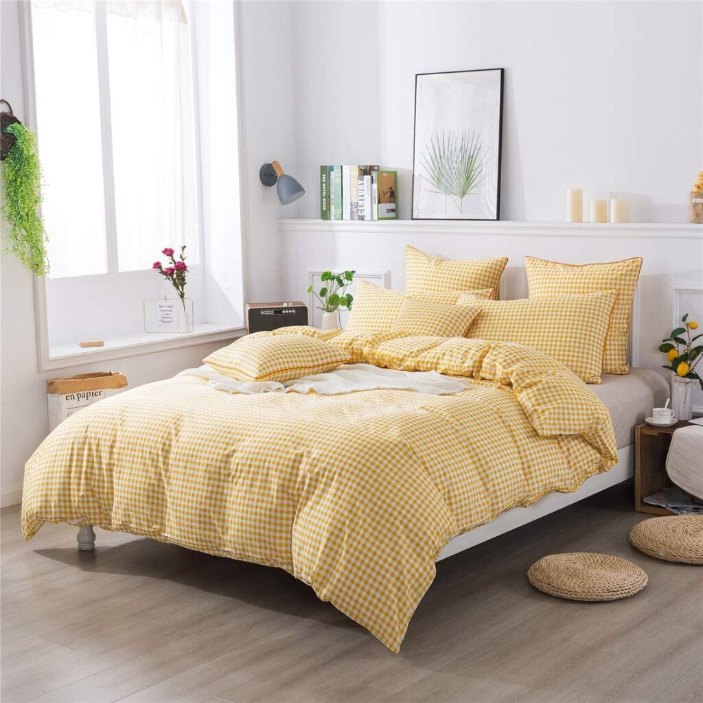 Fadfay Yellow Plaid Duvet Cover -  Twin XL