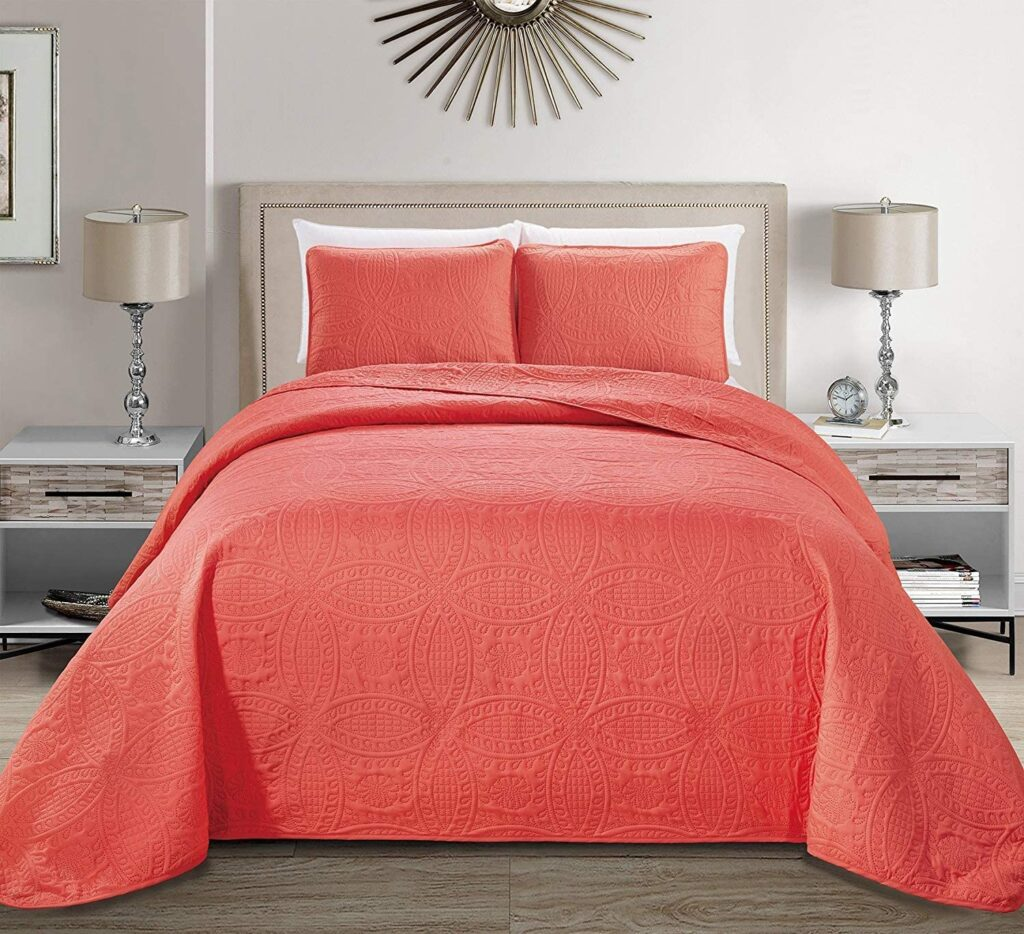 MK Home Coral Embossed Twin xl Bedspread Cover