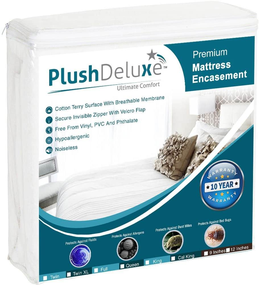 PlushDeluxe Waterproof Cotton Mattress Protector