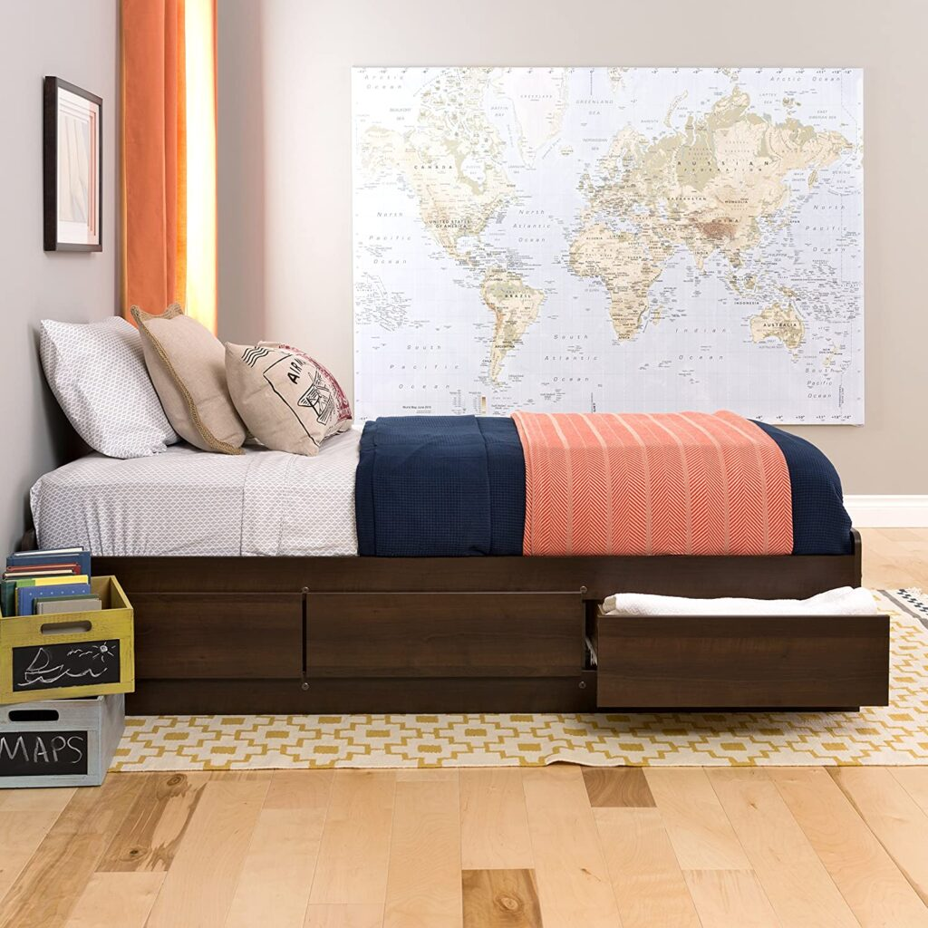 Prepac Mate's Platform Bed Frame with 3 Drawers