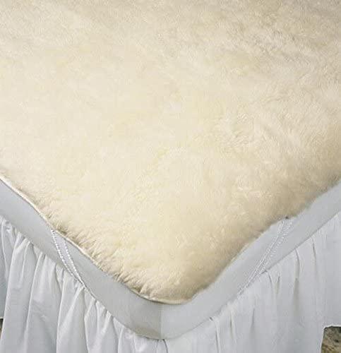 Slumberfleece Wool Strap-Fit Mattress Pad Cream/King