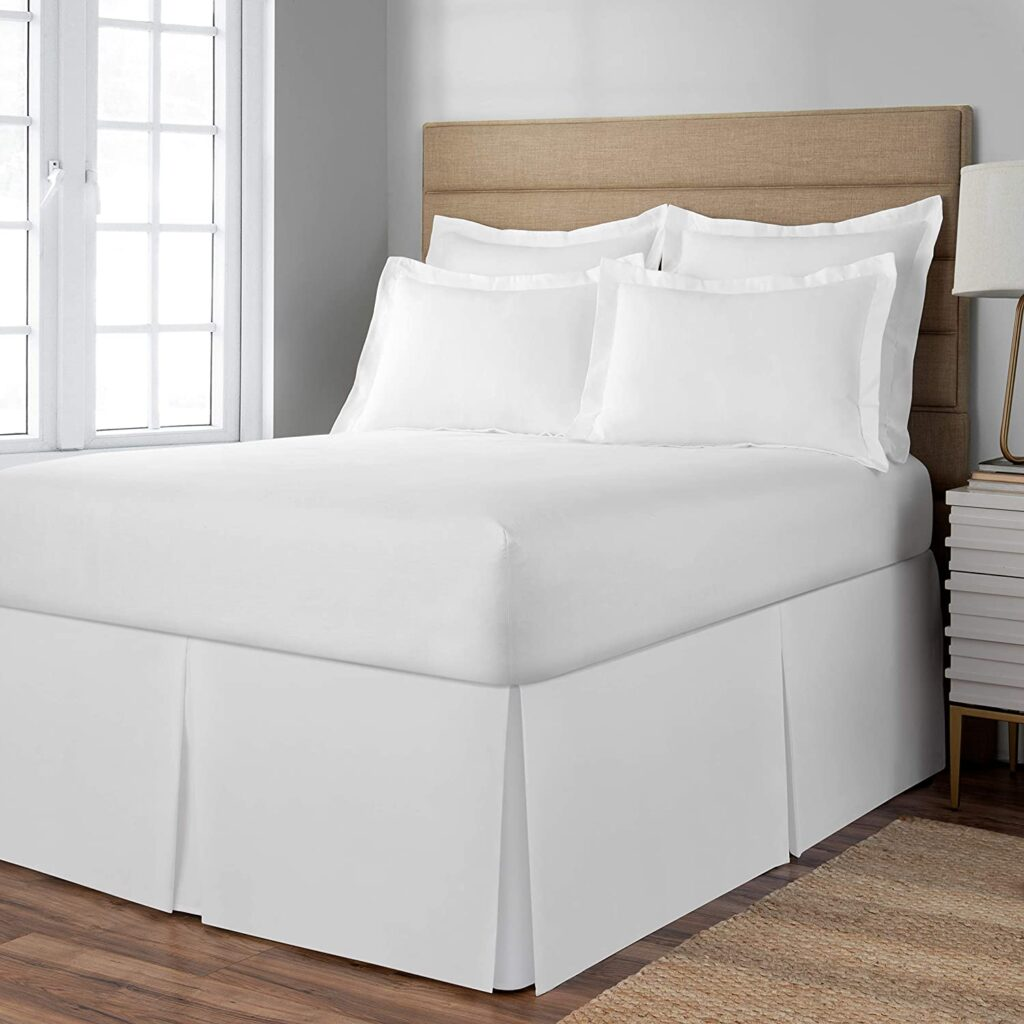 "Space Maker Extra-Long 21"" Drop Length Bed Skirt, Twin XL, White"